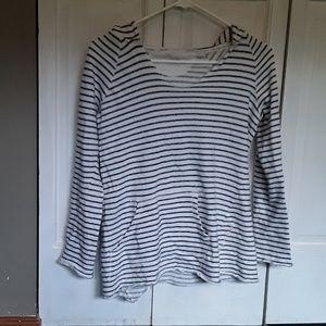 Calvin Klein hooded pullover, blue an white stripe